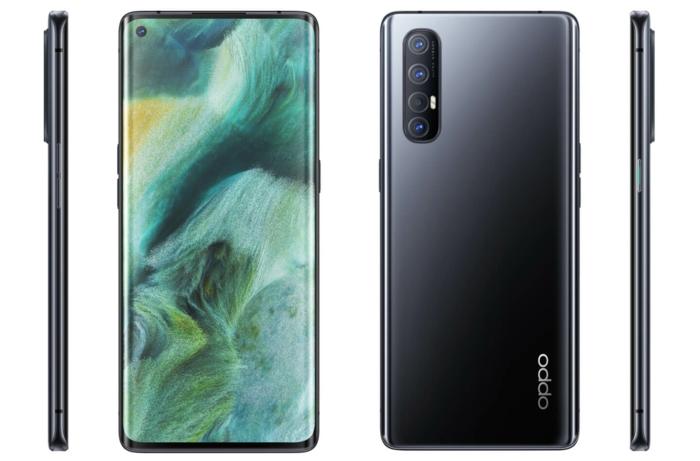 das neue smartphone oppo find x2 neon kommt auf dem deutschen markt, schwarzes smartphone mit vier kameralinsen auf der rückseite