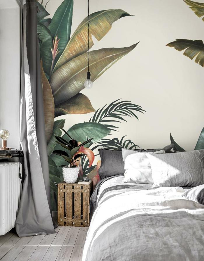 moderne Inneneinrichtung Schlafzimmer, Fototapeten mit tropischem Muster, Photowall de, Wandgestaltung Inspiration