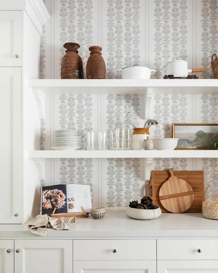 Küchentapeten ganz aktuelle und minmalistisch, Inneneinrichtung im Landhausstil, aufgeschlagenes Kochbuch