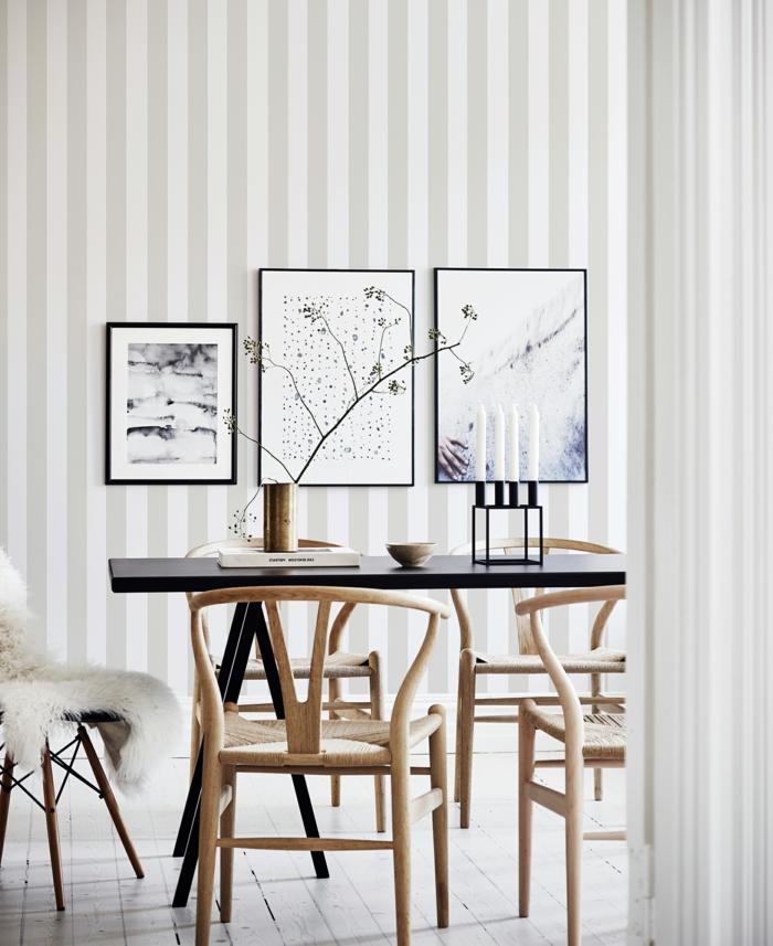 Wandgestaltung Streifen Beispiele mit Streifen, Inneneinrichtung Esszimmer, drei aufgehängte Bilder