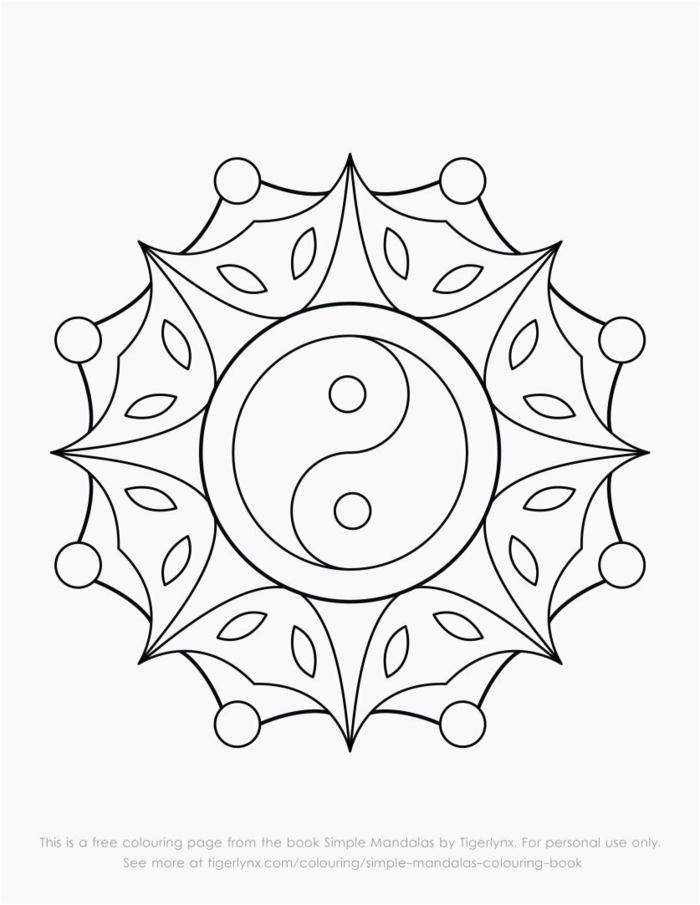 Yin Yan Zeichen in der Mitte eines Mandalas für Kinder, Ausmalbilder kostenlos ausdrucken