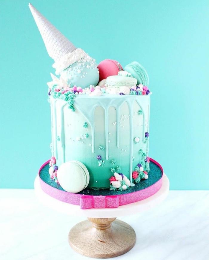drip cake rezept, torte zum geburtstag für junge, eiscreme kuchen selber machen