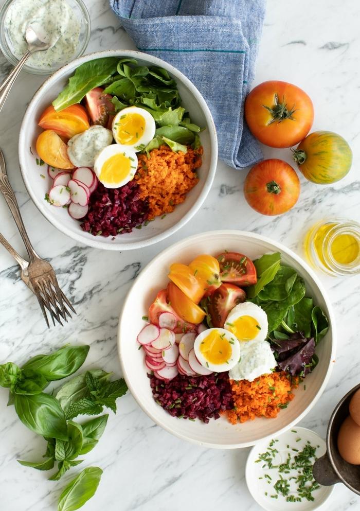 2 gesunde ernährung schwangerschaft mittagessen ideen eier mit gemüse radieschen tomaten karotten mozzarella