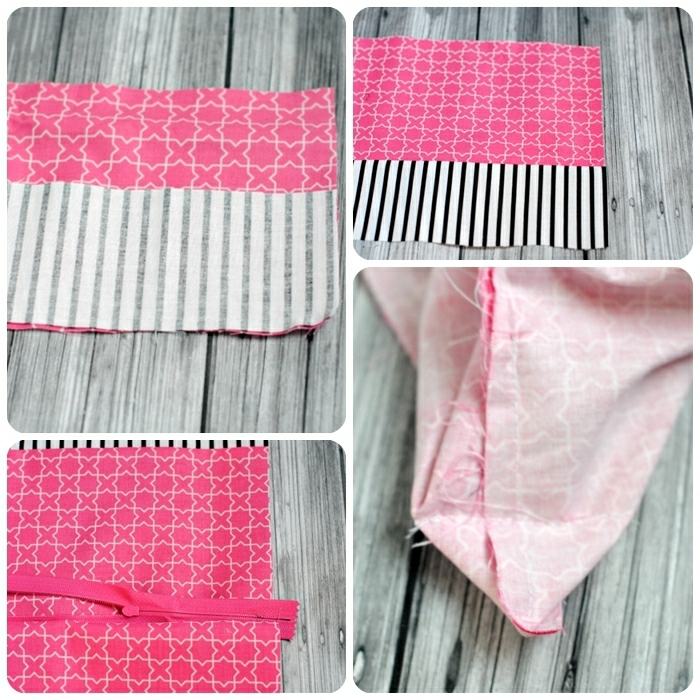 2 kleine tasche nähen diy anleitungen und ideen schritt für schritt tutorial rosa stoff