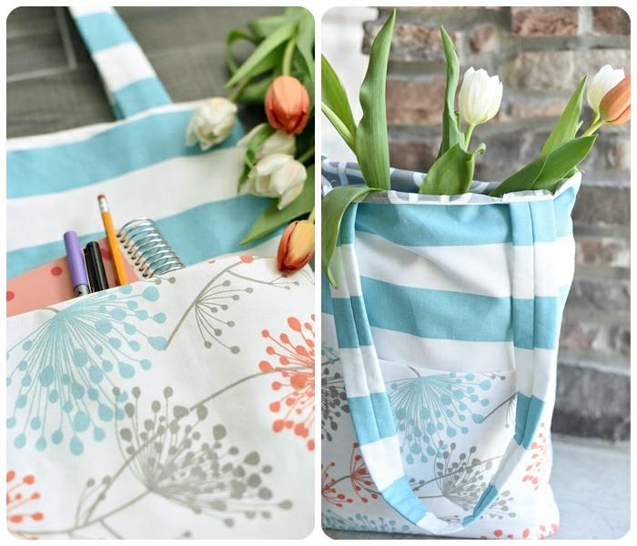 3 tasche nähen für dummies einfache handtasche in weiß und blau orange und weiße tulpen