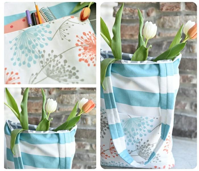 5 tasche nähen schnittmuster gratis deutsch einfache handtasche in weiß und hellblau gestreifter stoff