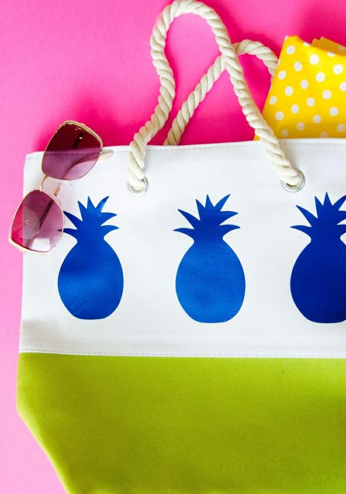 5 tasche nähen schnittmuster gratis deutsch sommertasche strandtasche mit ananassen sonnenbrille
