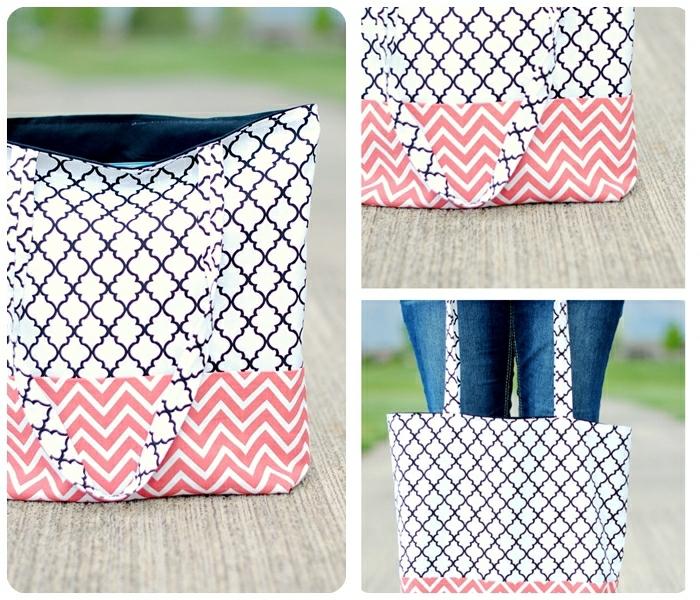 5 tasche nähen schnittmuster gratis deutsch stofftasche in weiß rosa und schwarz geometrisches muster