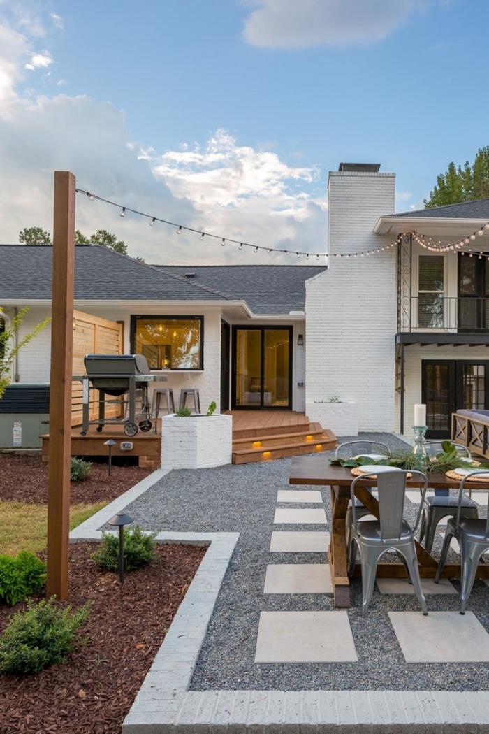 außeneinrichtung garten mit trittsteinen gartengestaltung bilder ideen und inspiration garteneinrichtung terrasse mit grill