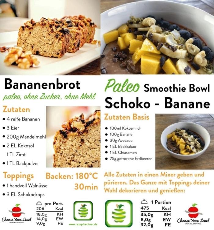 bannanenbrot und smoothie bowl mit shoko und banane paleo frühstück zwei rezepte leckere gerichte