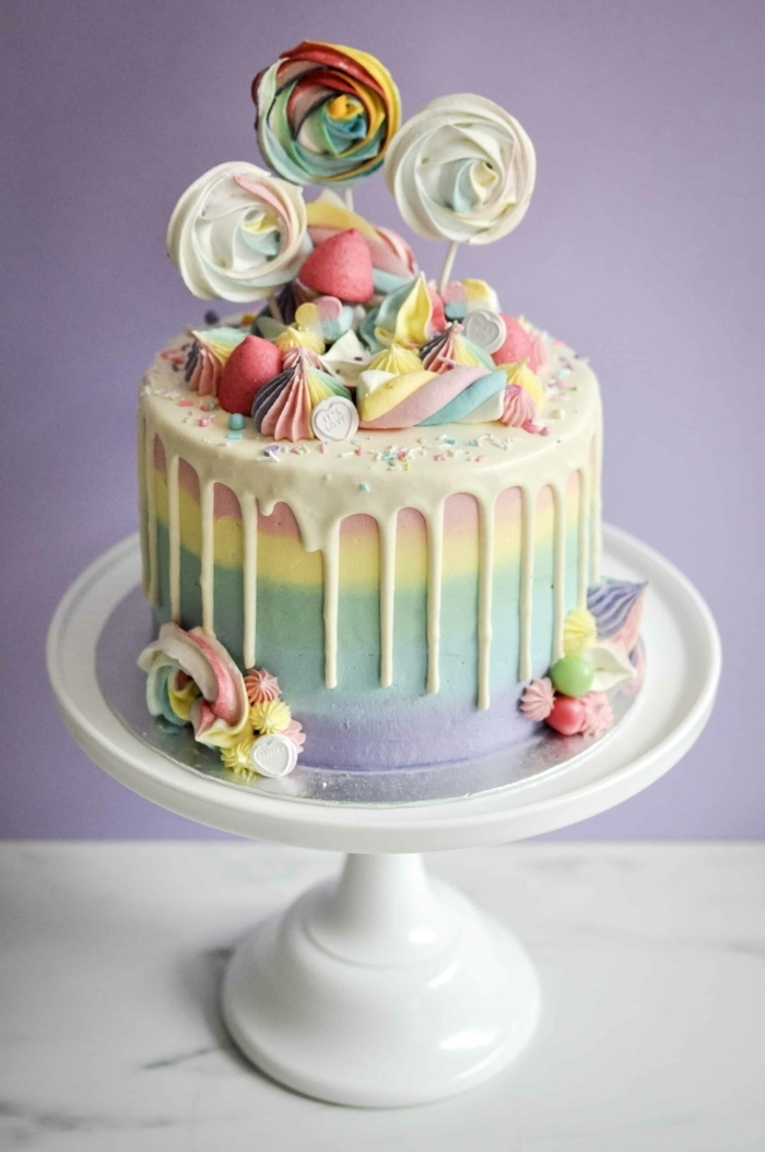 cake torten rezept, regenbogen torte dekoriert mit meringuen, smore kuchen
