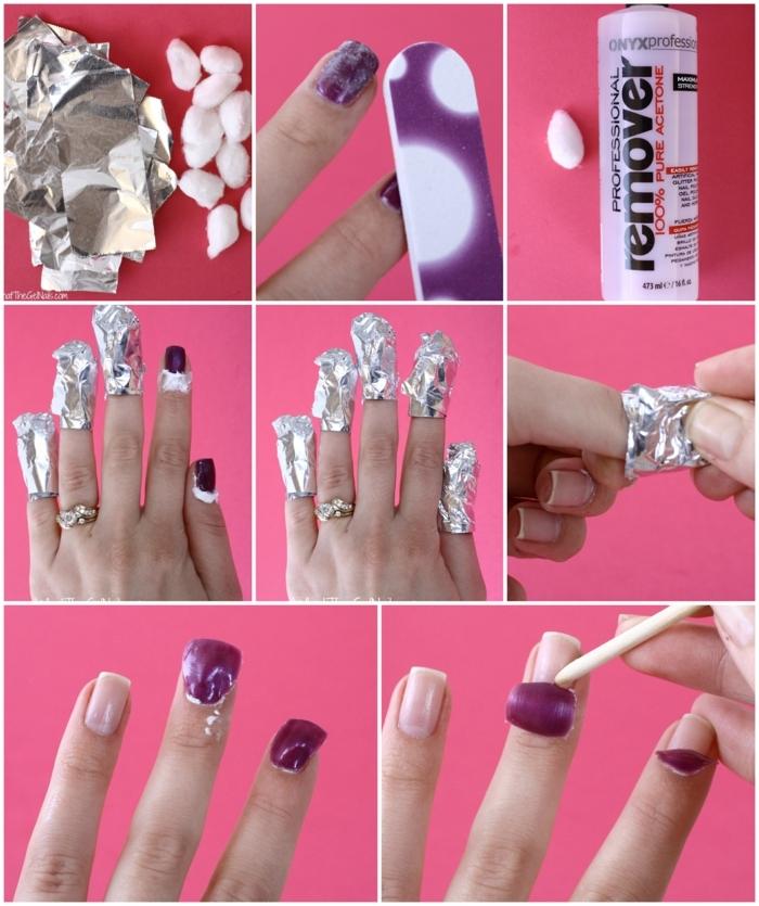 collage diy anleitung schritt für schritt gelnägel selber abmachen materialien wattebällchen nagellackentferner alufolie