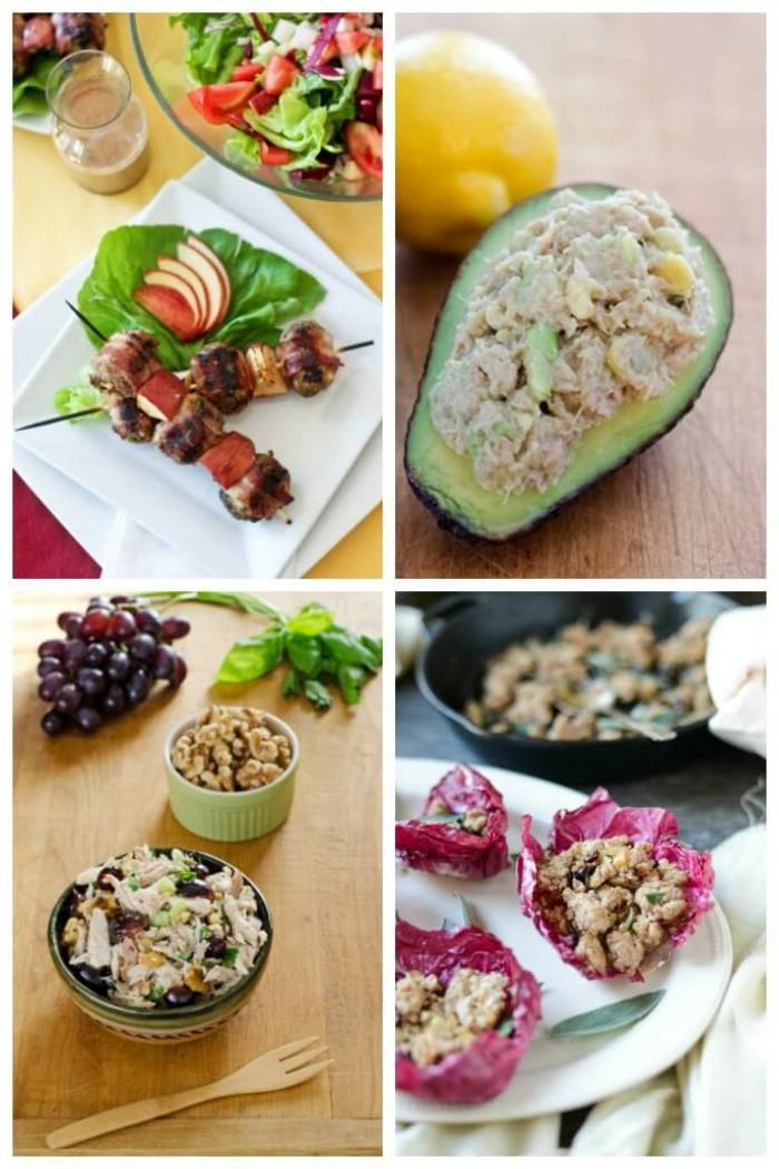 collage mit verschiedenen gerichten gefüllter avocado was ist paleo ernährung leckeres essen zubereiten
