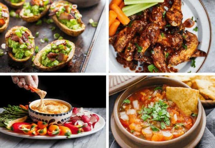 collage mit verschiedenen gerichten paleo lebensmittel ideen für party essen gesund und lecker gefüllte kartoffeln