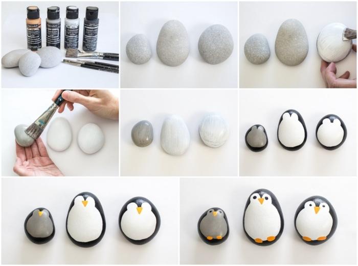 collage schritt für schritt anleitung gartendeko selbstgemacht steine bemalen pinguine originelle dekoration für garten
