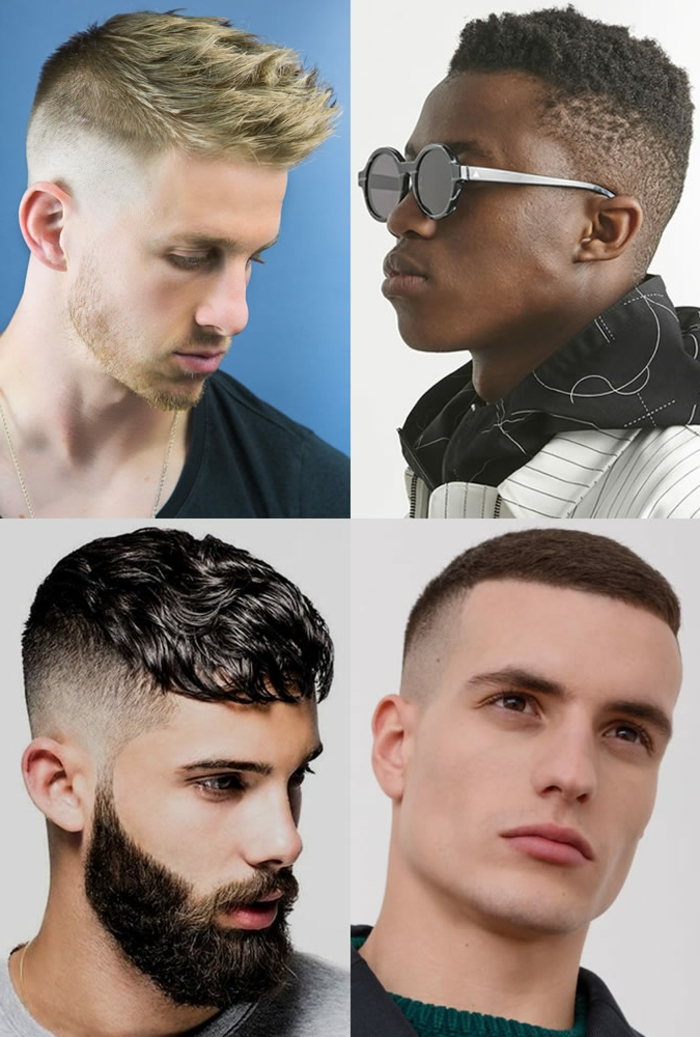 Männer Frisuren 2020, Collage von vier Herren mit konischem Haarschnitt, schwarze und blonde Haarfarbe, ein Mann trägt Sonnenbrillen