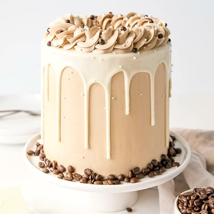 drip cake schoko, torte mit kaffee und schokolade, kaffeekuchen rezept