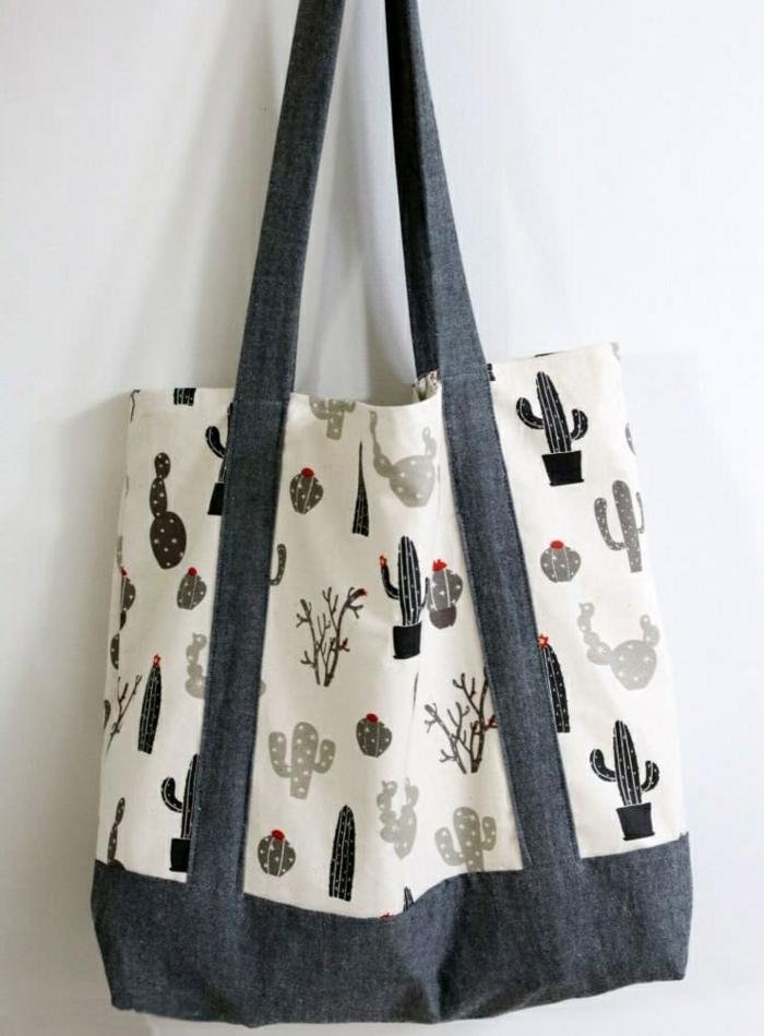 einfache tasche nähen mit innenfutter große handtasche aus beige und grauem stoff
