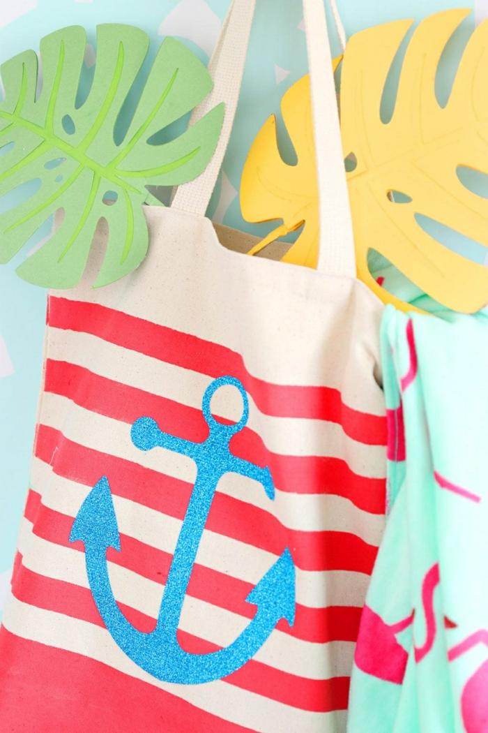 einfache tasche nähen mit innenfutter strandtasche selber machen rote streifen blauer anker