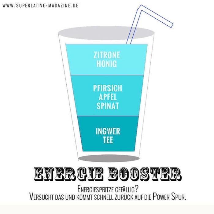 energie booster smoothie gesunde smoothies zum abnehmen zitrone honig pfirsich apfel spinat ingwer tee