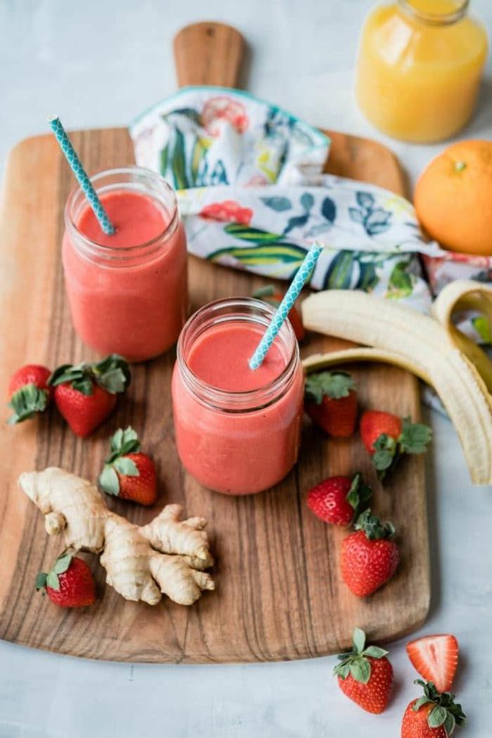 erdberr zitrone ingwer smoothie rezepte zum abnehmen leckere schakes gesundes und leckeres essen