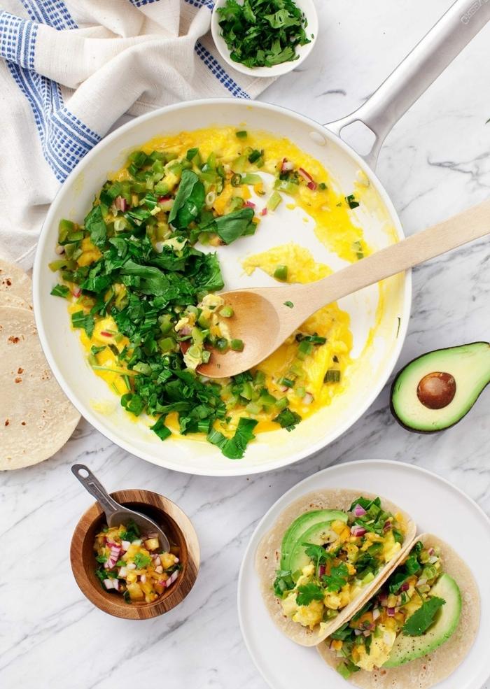 ernährungsplan schwangerschaft was esse ich zum frühstück eier mit kräutern und avocado
