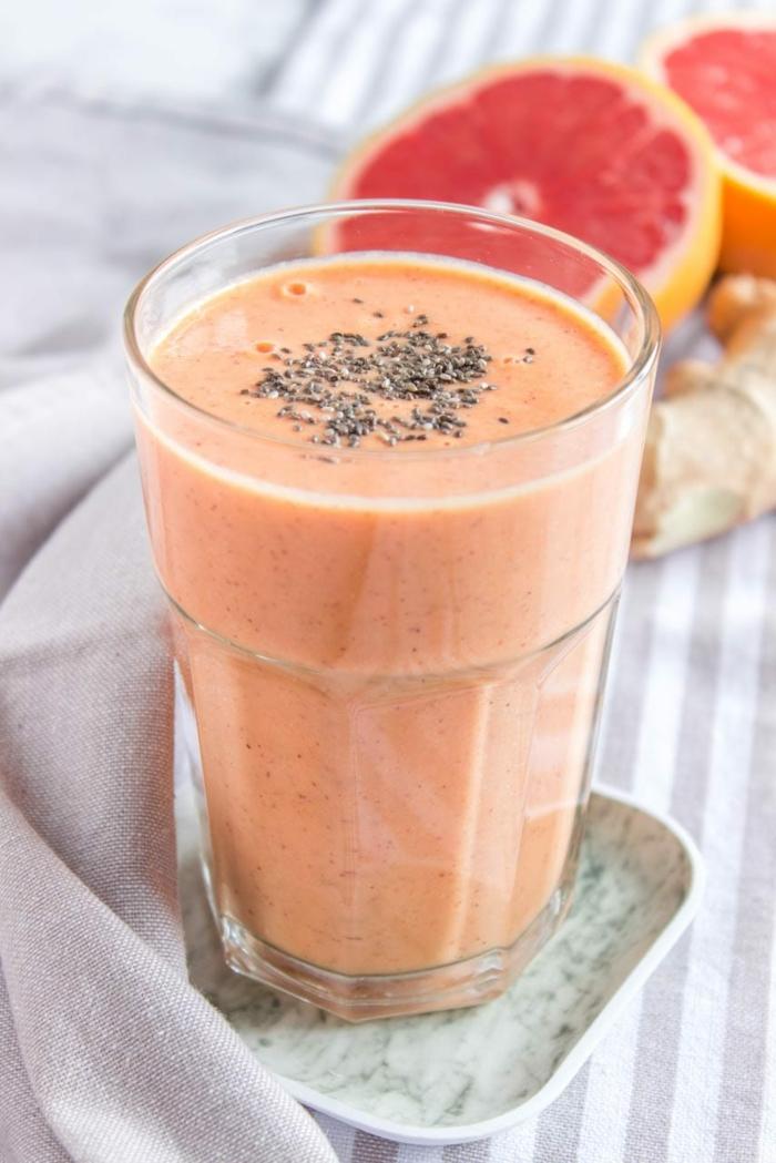 gesunde smoothies zum abnehmen grapefruit ingwer smoothie chia samen