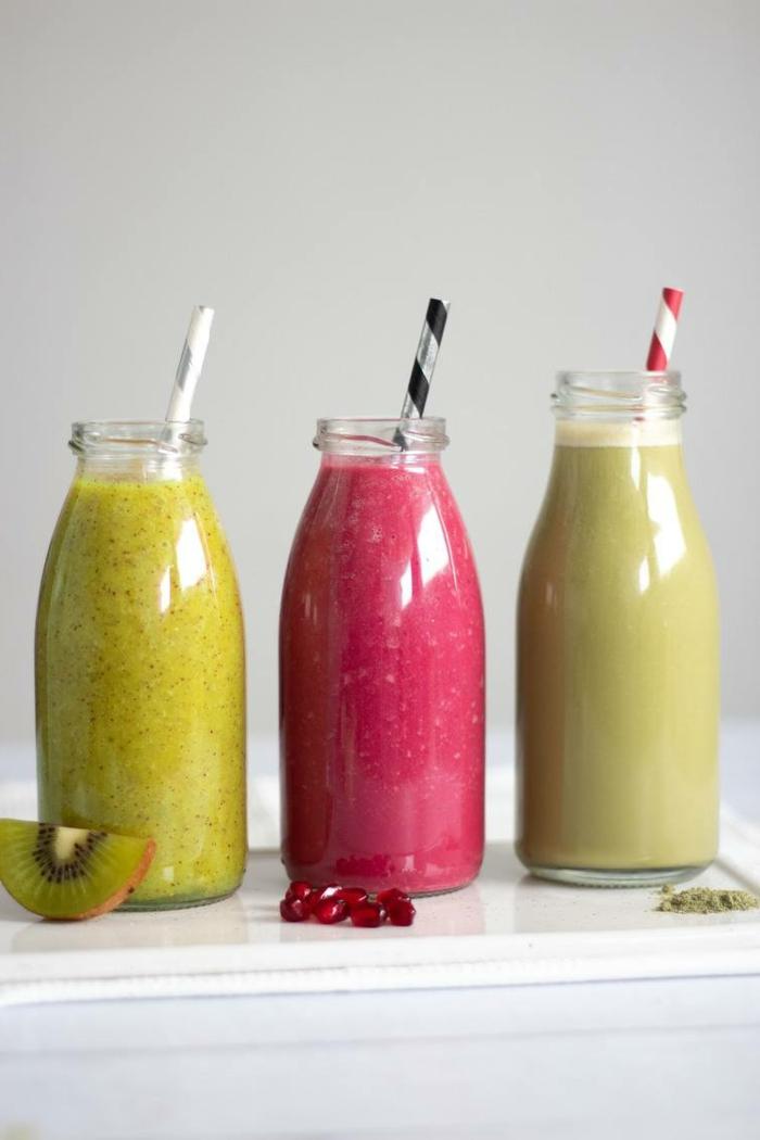 grüne smoothie rezepte zum abnehmen detox säfte gesundheit kiwi orange granatapfel grapefruit matche lime