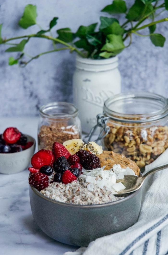haferflocken mit beeren und kokosflocken paleo frühstück rezept ausgewogen und gesund