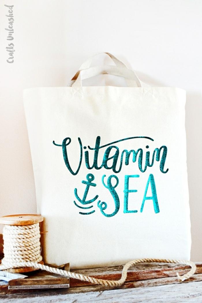 handtasche selber nähen taschendeko selbst machen maritime deko weiße tasche