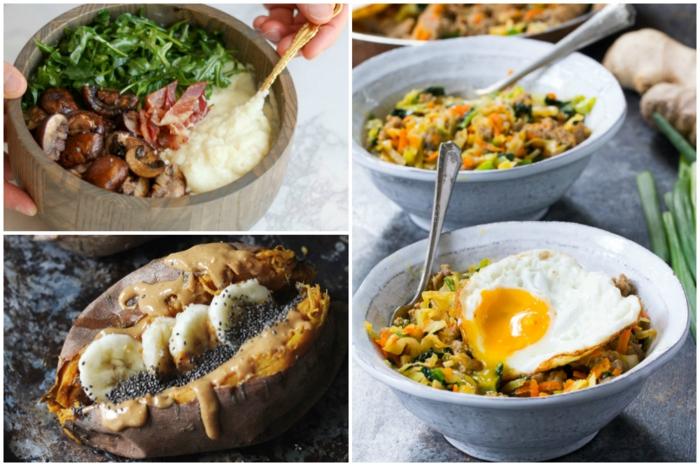 ideen für paleo frühstück collage mit gerichten mit ei süßkartoffel leckere rezepte steinzeitdiät
