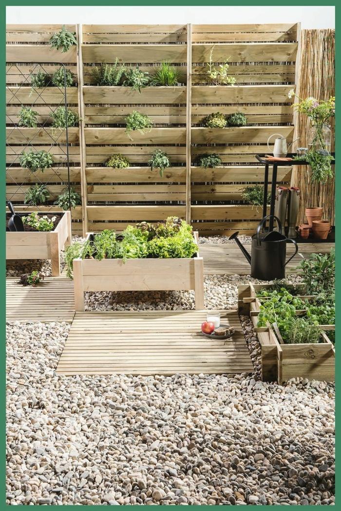 ideen gartengestaltung sichtschutz mit pflanzer möglichkeit deko ideen mit steinen im garten