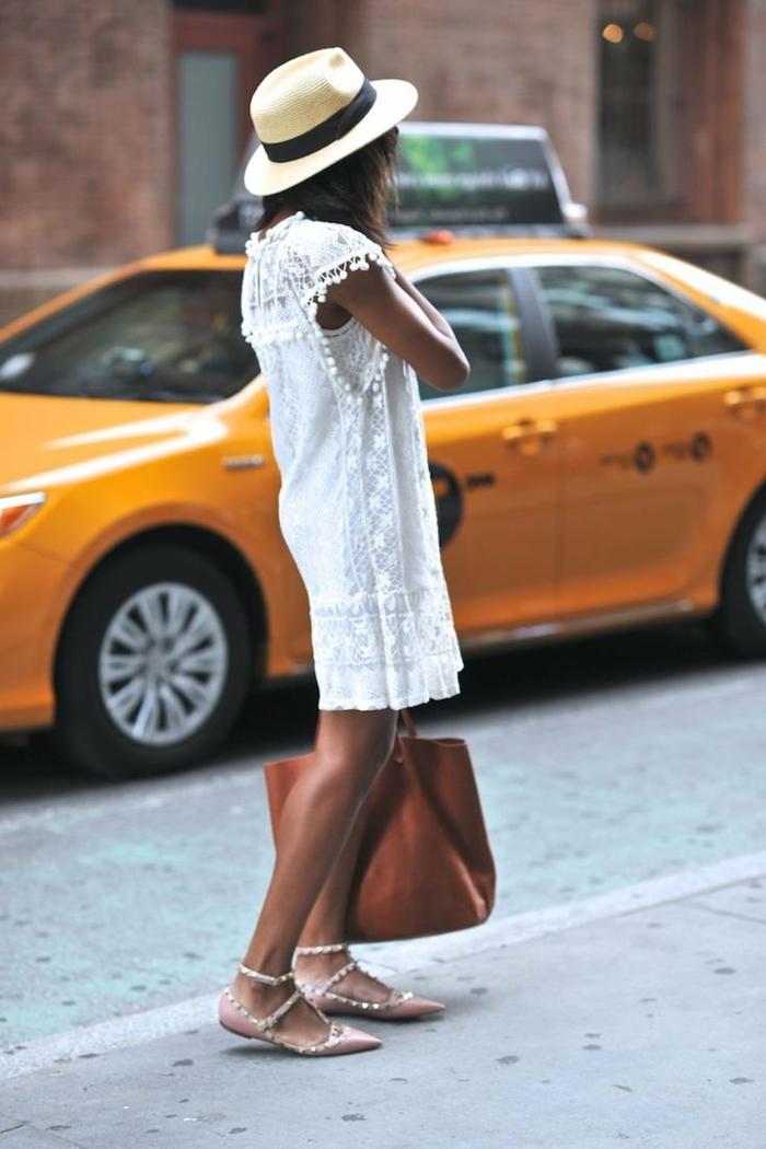 inspiration street style new york frau mit strohhut und brauner tasche kleid spitze knielang elegante sandalen