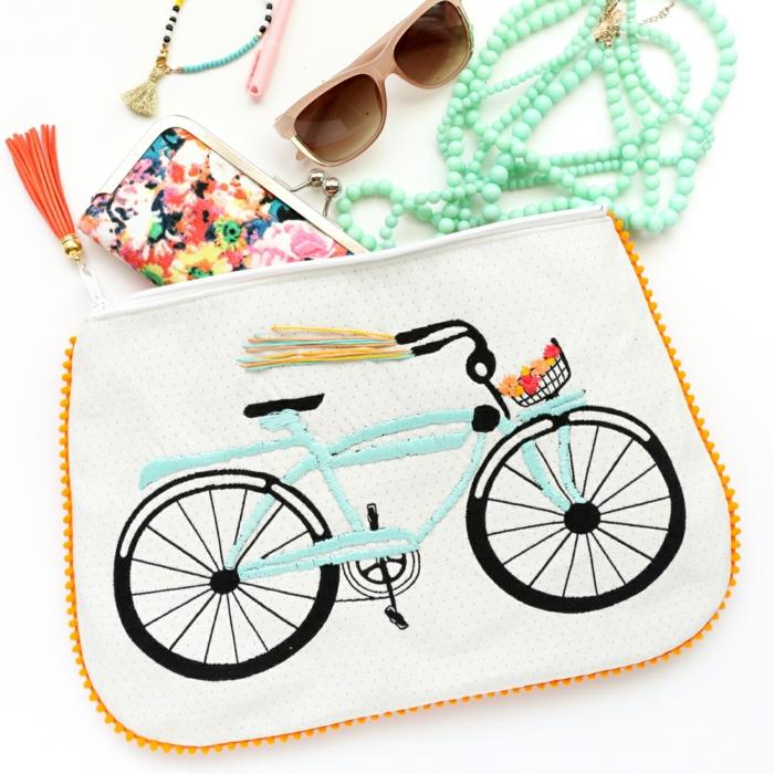 kleines täschchen nähen selsbtgemachte tasche mit fahrrad taschendeko ideen