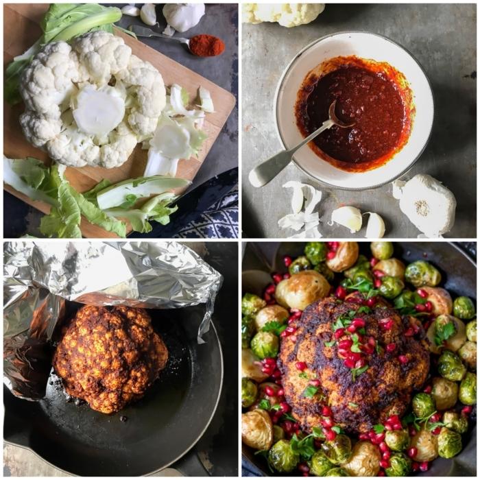 knoblauch kräuter blumenkohl geröster collage mit anleitungen leckere rezepte