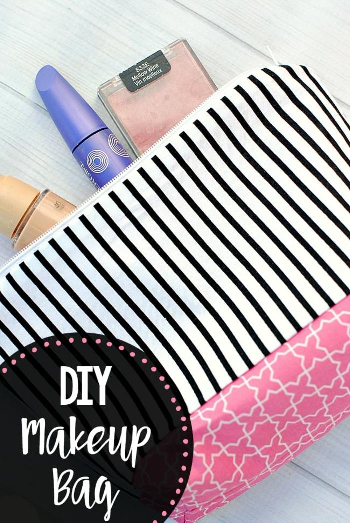 kosmetiktasche selber nähen schnittmuster kostenlos einfache anleitung make up tasche kleines täschchen