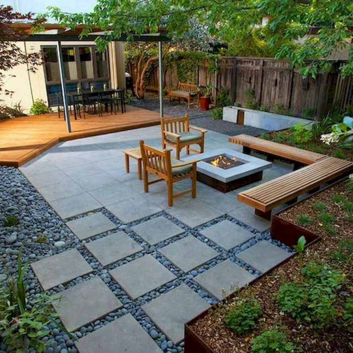 kreative hinterhof feuerstelle ideen außeneinrichtung inspiration steingarten bilder ideen gartenmöbel aus holz