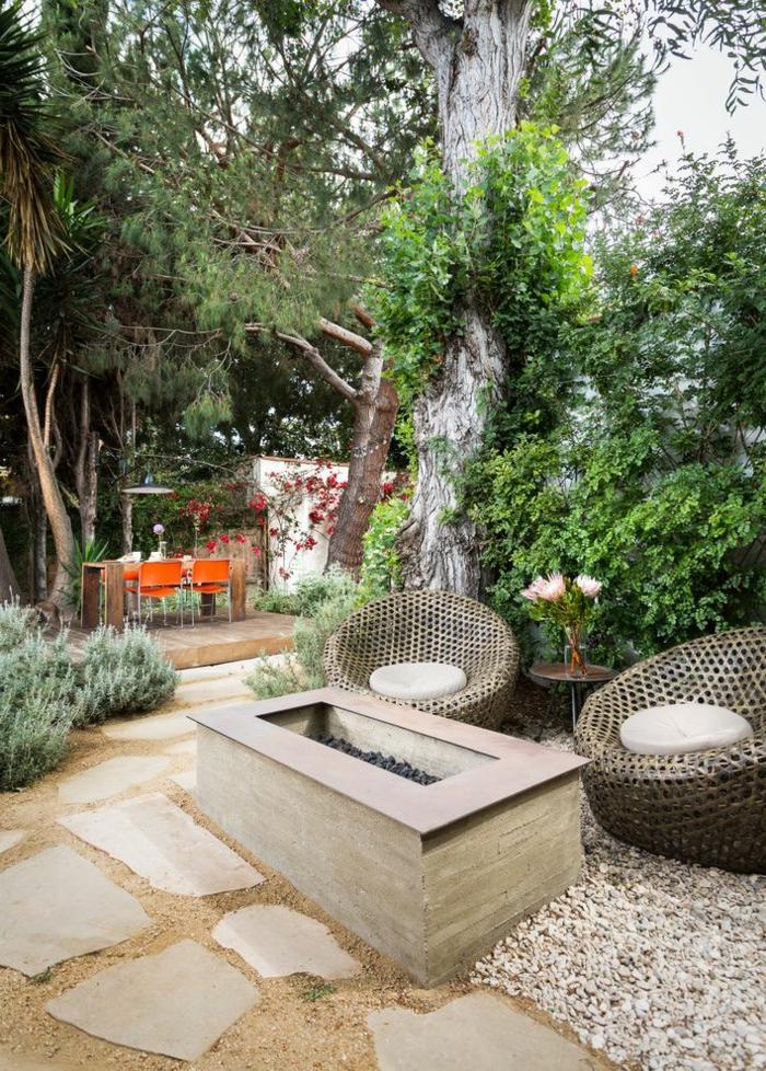 moderne terrasse kieselsteine trittsteine gartengestaltung beispiele und bilder außeneinrichtung inspiration ideen
