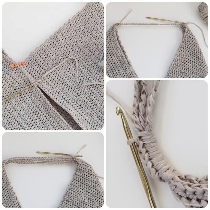 nähanleitung tasche aus grauem garn diy ideen selbstgemachte dinge henkel taschenkhenkel stricken