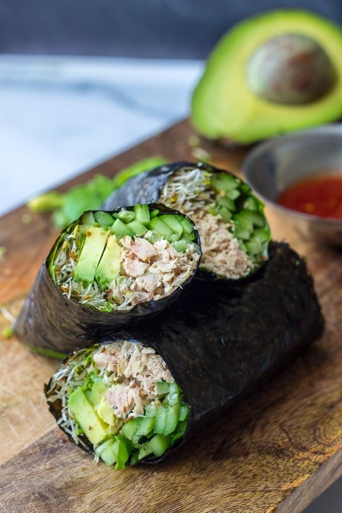 nori wraps mit paleo tuna salat paleo diät rezepte thunfisch avocado gurke salatblätter leckeres essen
