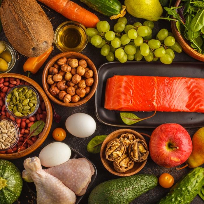 paleo lebensmittel fisch obst gemüse eier kicherebsen spinat wallnüsse kerne was darf man bei paleo essen steinzeitdiät ernährung