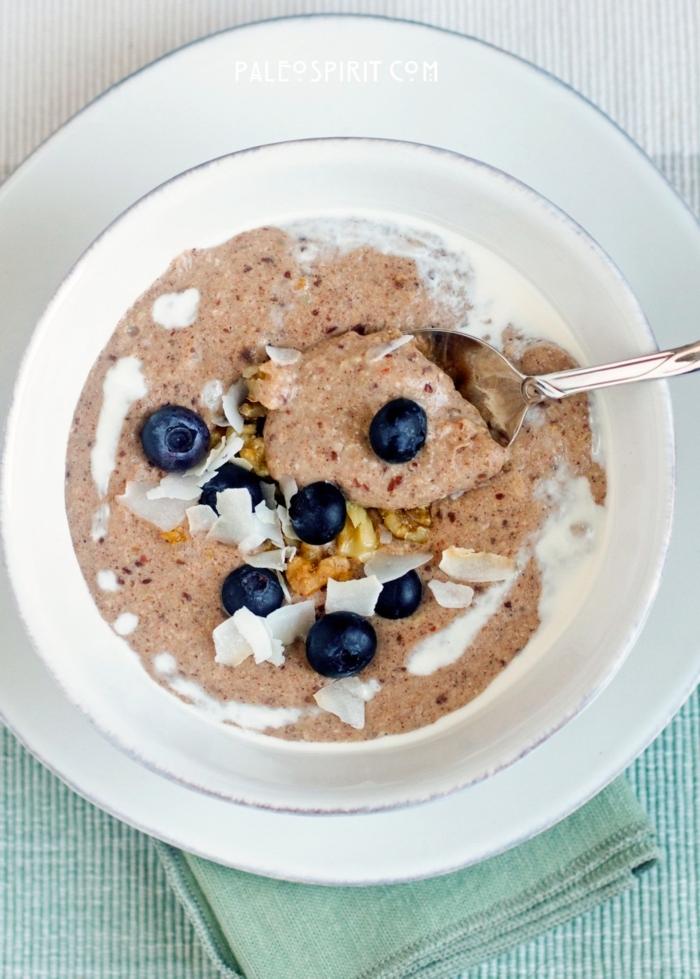 paleo müsli frühstücksbrei mit bananen und beeren nüsse ausgewogene ernährung kokosflocken paleo rezepte