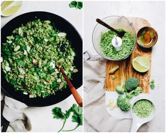 paleo vegetarisch collage paleo broccoli gebratener reis produkte leckere gerichte leichte rezepte collage mit gericht und produkte