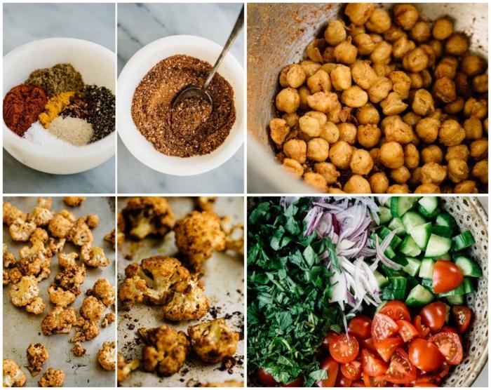 schritt für anleitung rezept leckere salate gurken tomaten spinat kichererbsen blumenkohl paleo vegetarisch