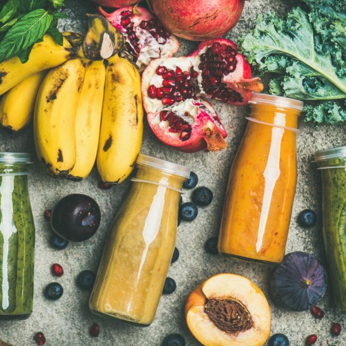 smoothie rezepte gesund banane pfirsich granatapfel grünkohl gesundes leben