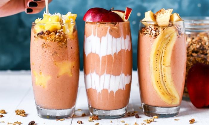 smoothie rezepte gesund protein protein shakes bananen äpfel ananas