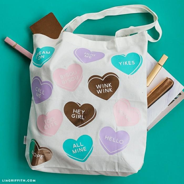 tasche nähen für dummies diy ideen und anleitungen handtasche aus stoff mit herzen muster