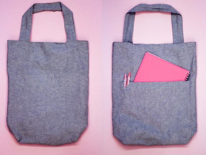 tasche nähen für dummies selsbtgemachte handtasche aus grauem stoff einfache anleitung