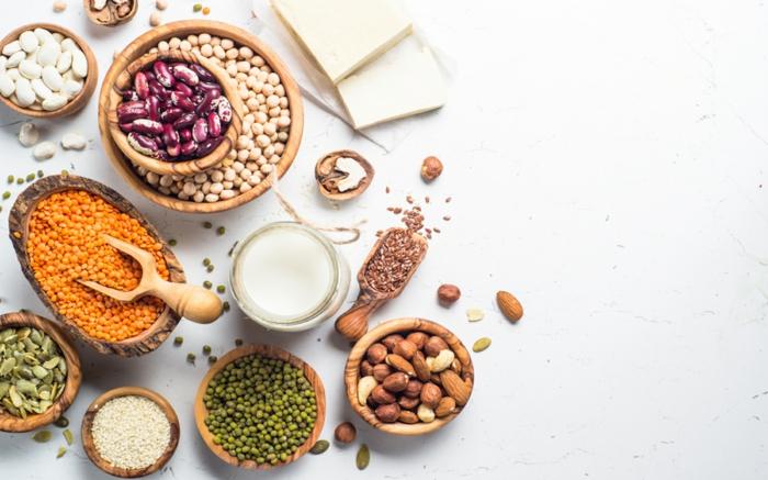 ein bild mit verschiedenen eiweißlieferanten, vegane proteine, linsen und rote bohnen, vegane ernährung