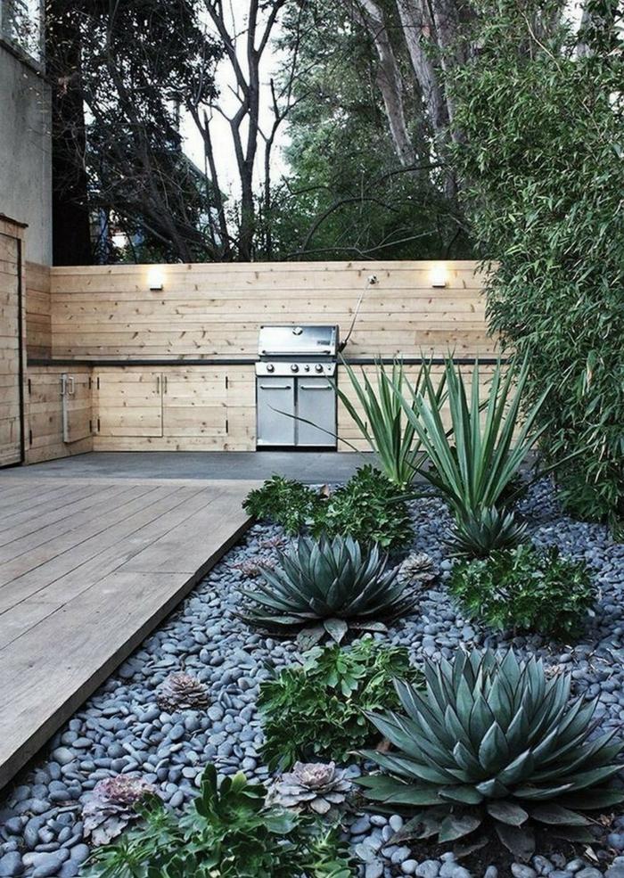 vorgarten und hinterhof gestaltung gartengestaltung ideen mit steinen und kakteen